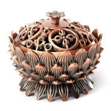 Retro Tibetan Red Copper Chinese Bronze Copper Lotus Incense Burner Holder Flower Statue Censer Ornaments Craft Gifts Home Decor