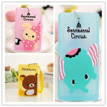 3Designs, Rilakkuma Bear Rabbit 10*6CM Kid Girl's BUS ID Cards Holder Case Pouch BAG Holder Case ; ID Message PAD Case Holder(China)