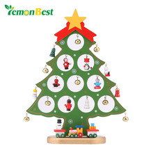 LemonBest DIY Christmas Ornament Wooden Christmas Tree Christmas Hanging Ornament Gift for Children Home Xmas Table Decoration(China)