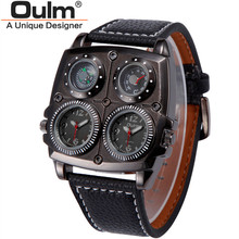 Men's Vintage Watches Oulm 1140 Luxury Brand Leather Strap Military Army Clock Montres de Marque de Luxe Relojes Lujo Marcas Men(China)