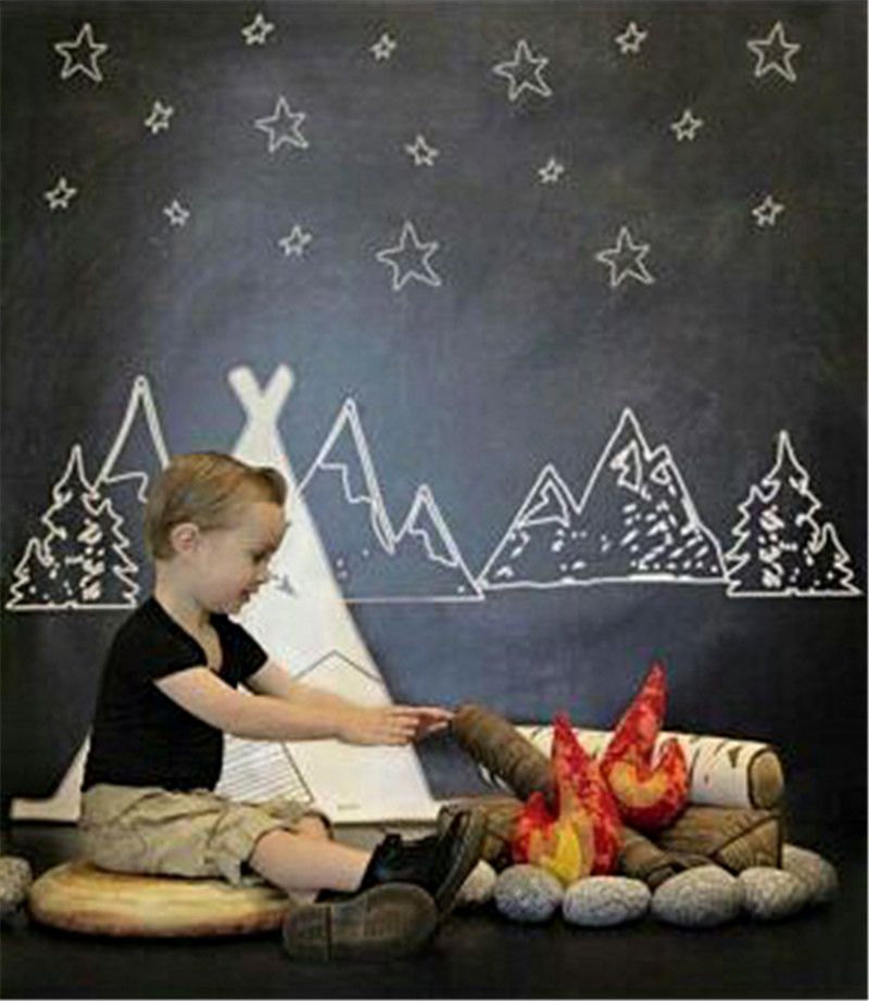 Blackboard White Chalk Photography Backdrops for Newborn Mountain with Stars for Kids Photocall 5x7ft Newborn Photo Background<br><br>Aliexpress