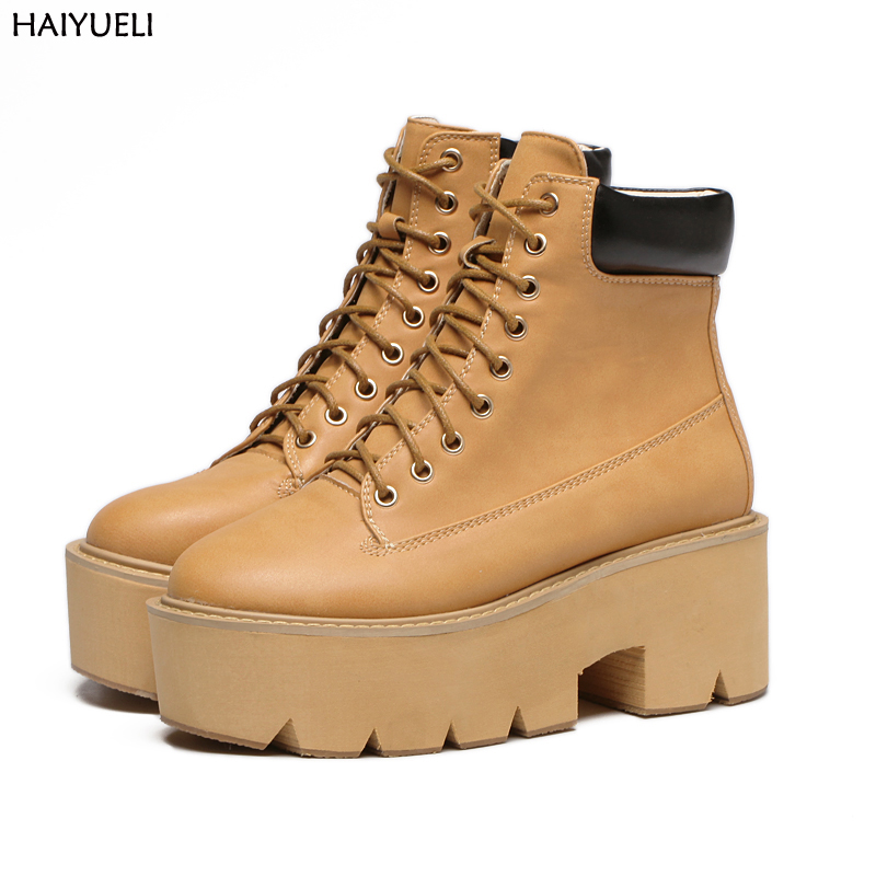 Women Ankle Boots Round Toe Casual Platforms Lace Up Punk Boots Classic Wedge Platform Ankle Boots Leisure Ladies Boots<br>