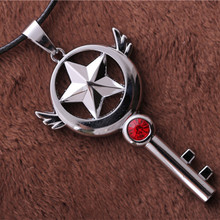 Anime Card Captor Sakura Magic Wand Crystal Key Pendant Necklace Women men Jewelry Collares 528