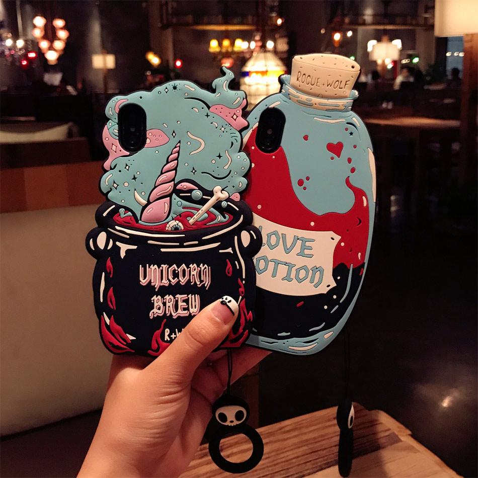 DOEES 3D Cute Love Potion Unicorn Brew Soft Silicone Phone Bag Case Cover Skin For iPhone 6 6S Plus 7 Plus 8 Plus X Fundas (10)
