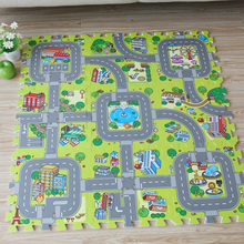 Baby EVA Foam Puzzle Play Floor Mat,Education and Interlocking Tiles/ Traffic Route Ground Pad/City and Building Rug (no edge)