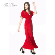 Female Formal dress sexy deep V-neck dresses Simple Brand modern fancywork style large size 6XL XXXL(China)