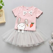 2017 New Cute Cartoon Little Rabbit Bunny Short SleeveT Shirts +TUTU Skirt Clothes Baby Girl Clothing Sets 0-5Years