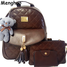 New Arrival 3pcs/set Small Bear Pendant Girls Schoolbag PU Tassel Women Backpack Double Zipper Women Bag Vintage Backpack Bag(China)