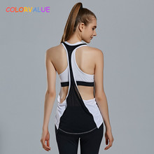 Colorvalue 2Pcs/Set Quick Dry Padded Sports Bra Loose Running Sport Tank Tops Women Jogging Vest Stretchy Fitness Gym Activewear(China)