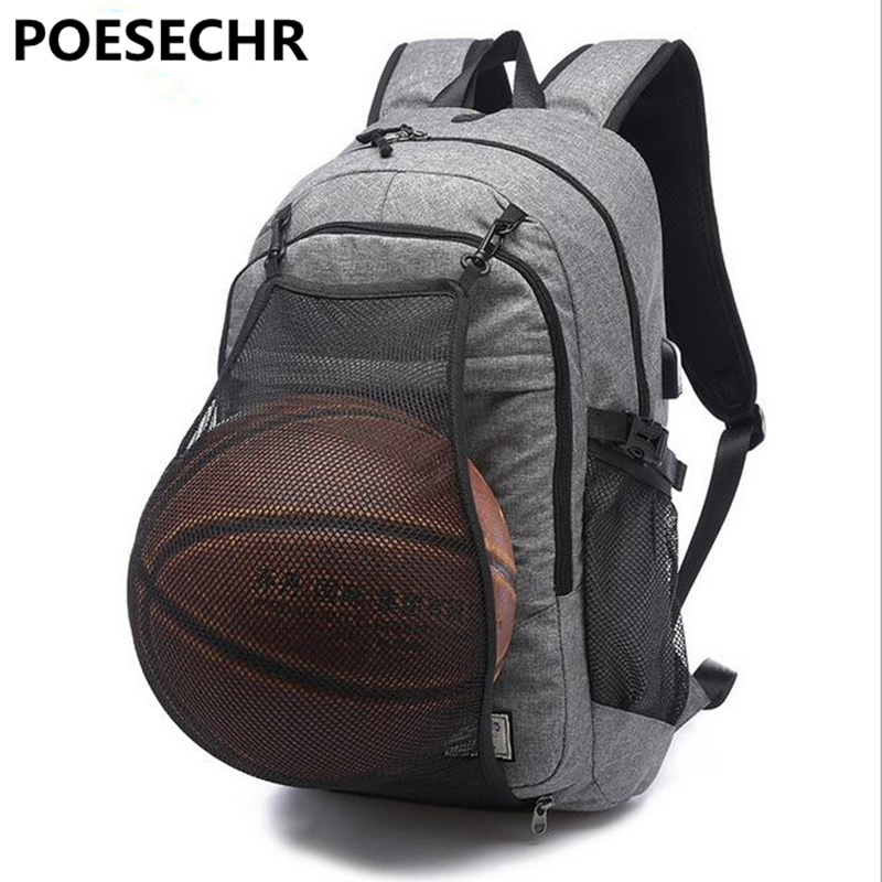 POESECHR USB External Charge Backpack Computer Bag Shoulders Anti-theft Backpack 17 inch Waterproof Laptop Backpack for Men<br>