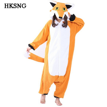 HKSNG New Orange Mister Mr Fox Pajamas High Quality Adult Unisex Animal Winter Party Onesie Kiguruma Cosplay Costume Homewear
