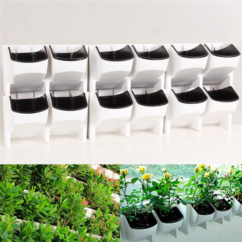 Stackable 2-Pockets Vertical Wall Planter Self Watering Hanging Garden Flower Pot Planter for Indoor/Outdoor 6