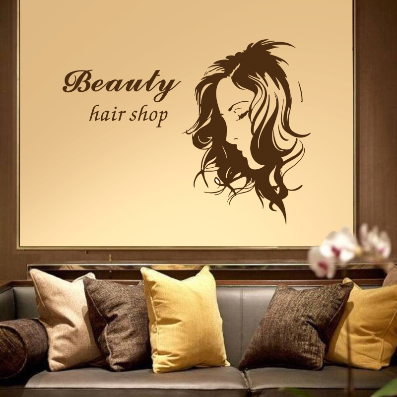 Hair Salon Sticker Beauty Scissors Decal Haircut Name Posters Vinyl Wall Art Decals Decor Decoration Mural Salon Sticker M0036