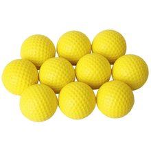 Super sell 10pcs Yellow Soft Elastic Indoor Practice PU Golf Ball