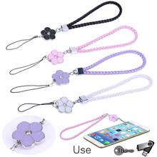 PU Leather Mobile Phone Straps Rhinestone Beaded Smart Phone Key Holder Ring Lanyard Smart Phone Accessory Cord Phone Hand Rope(China)