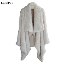 (Lord Fur) Lady Real Knitted Rabbit Fur Jacket Coat Turn-Down Collar Autumn Winter Genuine Women Fur Outerwear Coats LF4013