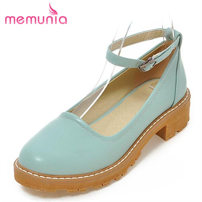 MEMUNIA College style single shoes women flats big size 32-43 solid shallow pu fashion shoes spring autumn soft leather buckle <br><br>Aliexpress