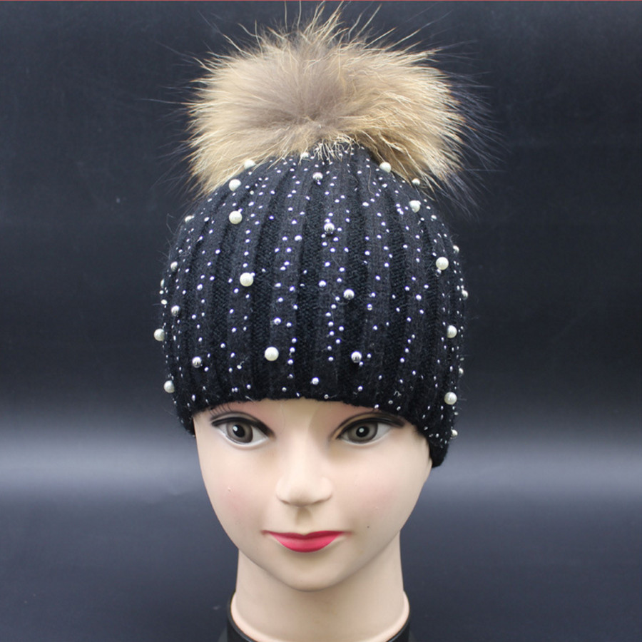 [Ode To Joy]Women winter wool hat female knitted skullies beanies with diamond real fur pompom rabbit hats solid new fashionОдежда и ак�е��уары<br><br><br>Aliexpress