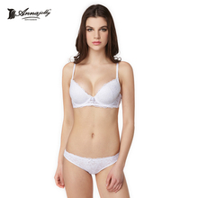 Annajolly Women Underwear Bra Sets Sexy Top Bras Lace Panties Briefs Lace Brassiere White Black Lingerie New Fashion 8194