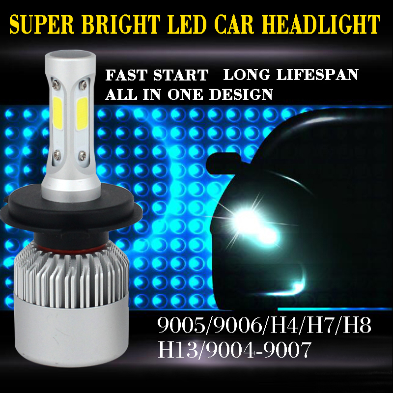 New Design All In One H4 Led Headlight Kit High Low Beam 2*36W 8000LM Fog Light Lamp Xenon Car-Styling H7 LED Bulbs For Cars<br><br>Aliexpress