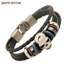 2017 Fashion Stainless Steel Skull Wristband Jewelry Skull Leather Bracelet & Bangles Punk Male Accessories Wholesale(China)