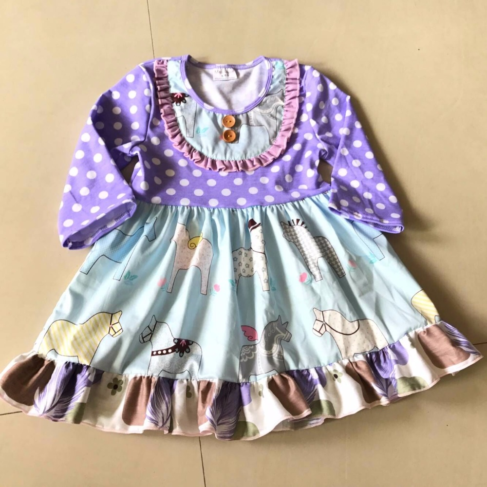 New Blue White Dots Long Sleeve Cute Style Spring And Autumn With Animals Print Baby Girls Dress For Babys Birthdays Banquet<br>