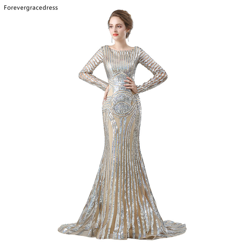 Forevergracedress Long Sleeves Prom Dresses 2019 Mermaid Crew Neck Sequined Formal Party Gowns Plus Size Custom Made