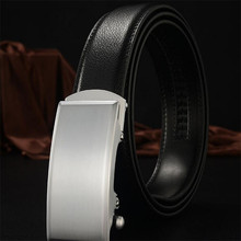 Come and buy it! High quality gentleman men's automatic buckle belt brand designer black  casual jeans 6 color 100% leat