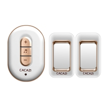 CACAZI 2 transmitters+1 receiver, AC 110-220V waterproof 300M remote wireless doorbell,48 melodies 6 volume door chime