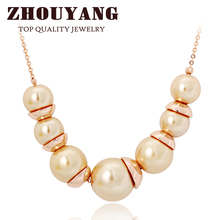 ZHOUYANG Top Quality Simple Imitation Pearl Jewellery Rose Gold Color Pendant Necklace Wholesale ZYN544 ZYN545(China)