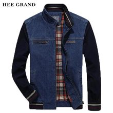 HEE GRAND Men Stylish Jacket 2017 New Arrival Stand Collar Slim Fitted Male Demin Spliced Spring Autumn Coat Size M-4XL MWJ2379