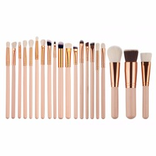 20pcs Rose Gold Professional Makeup Cosmetic Foundation Powder Eyeshadow Lip Eyeliner Blending Brushes Tools Set #228763