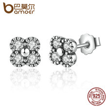 BAMOER New Arrival 925 Sterling Silver Earrings Pink Silver Clear CZ Push Back Stud Earrings For Women Fashion Jewelry PAS481