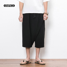 EMAIGI Summer Men Linen Cotton Casual China Style Male Loose Short Wide Leg Pants