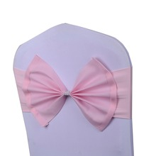 50 Pcs/Lot pink wedding chair sash tie bow acrylic chair cover band elastic chair sashes spandex cover chair(China)