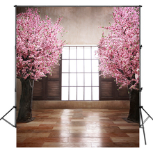 Background 3X3M Profession Photography Wedding Photo Pink Flowers Decor Bright Door Photo Backdrops