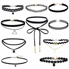 10 pcs/set Ladies Lace Flower Sexy Bohemia Black Neck Choker Necklace Gothic Chocker Necklaces Women Fashion Jewelry Accessories(China)