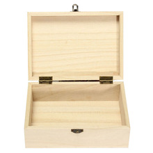New Home Storage Box Natural Wooden With Lid Golden Lock Postcard Home Organizer Handmade Craft Jewelry Case(China)