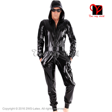 Buy Black Sexy Hoodie Latex Catsuit belt Rubber zentai Leotard cat suit long sleeves unitard body stockings jumper LT-086