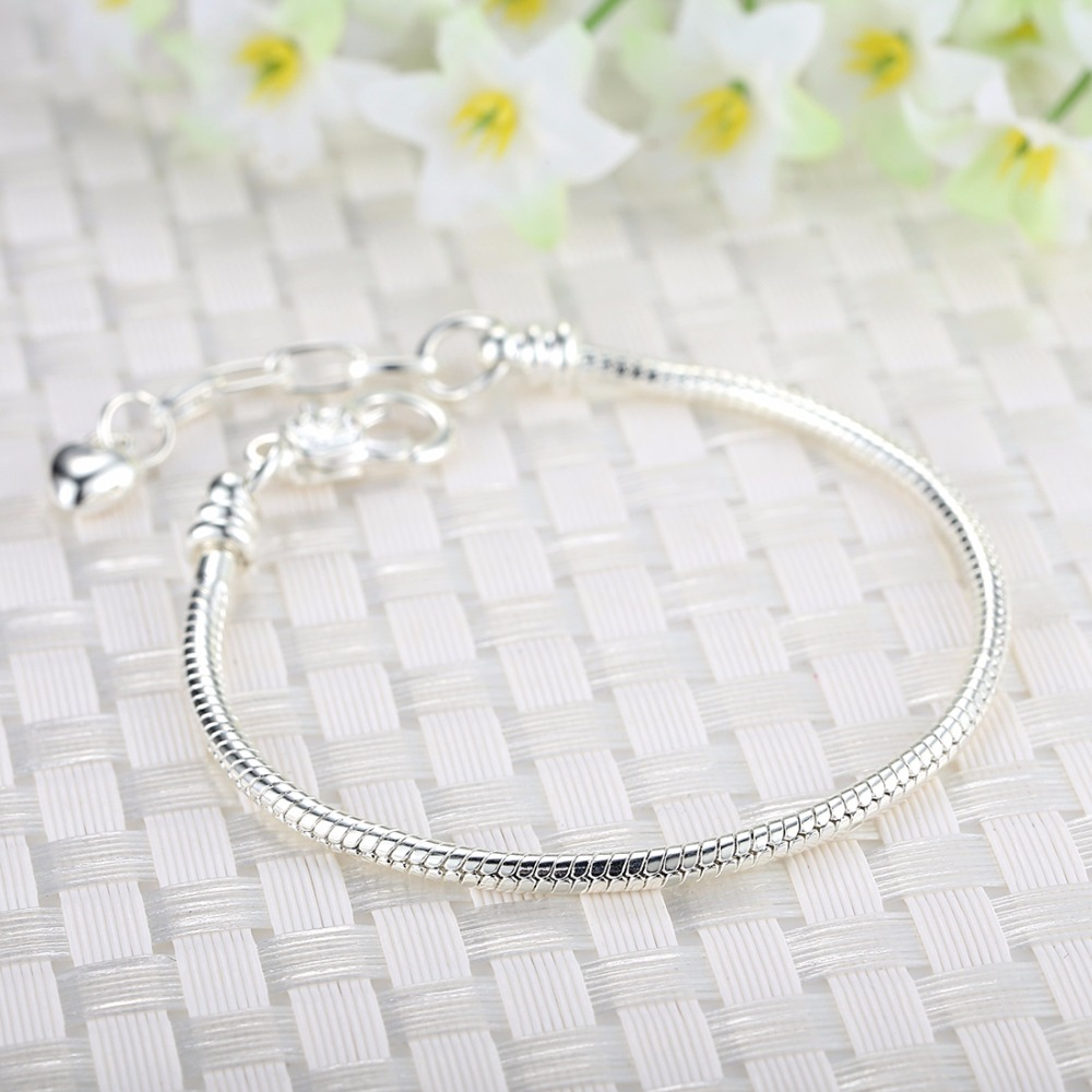 High-Quality-Silver-Bracelet-Jewelry-Chain-for-Women-With-Heart-Lobster-Clasp-Fit-Charm-Bracelet-Fast