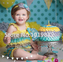Yellow/Grey/Teal Lace Petti Rompers Baby Cake Smash Ruffle Rompers 1st Birthday Outfit Photo Prop Baby Clothing