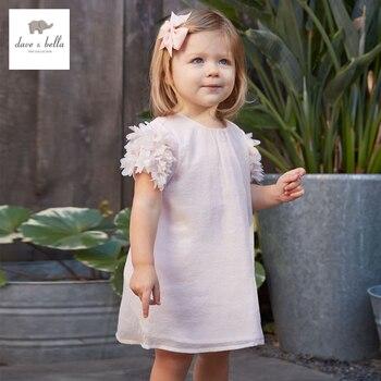 DB3329 dave bella bebê verão menina ruched vestido de princesa do bebê vestido bonito crianças flor roupa do aniversário do vestido crianças trajes
