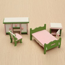 New 4 Pcs Miniature Doll House Bedroom Wooden Furniture Ornament Set Kids Role Pretend Play Toy Decoration Crafts Children Gifts