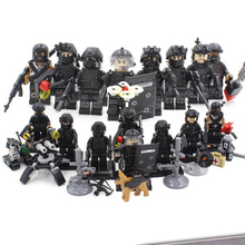 legoinglys military 8pz City Police SWAT Team Army Soldiers With Weapons WW2 Building Blocks Toys for children gift