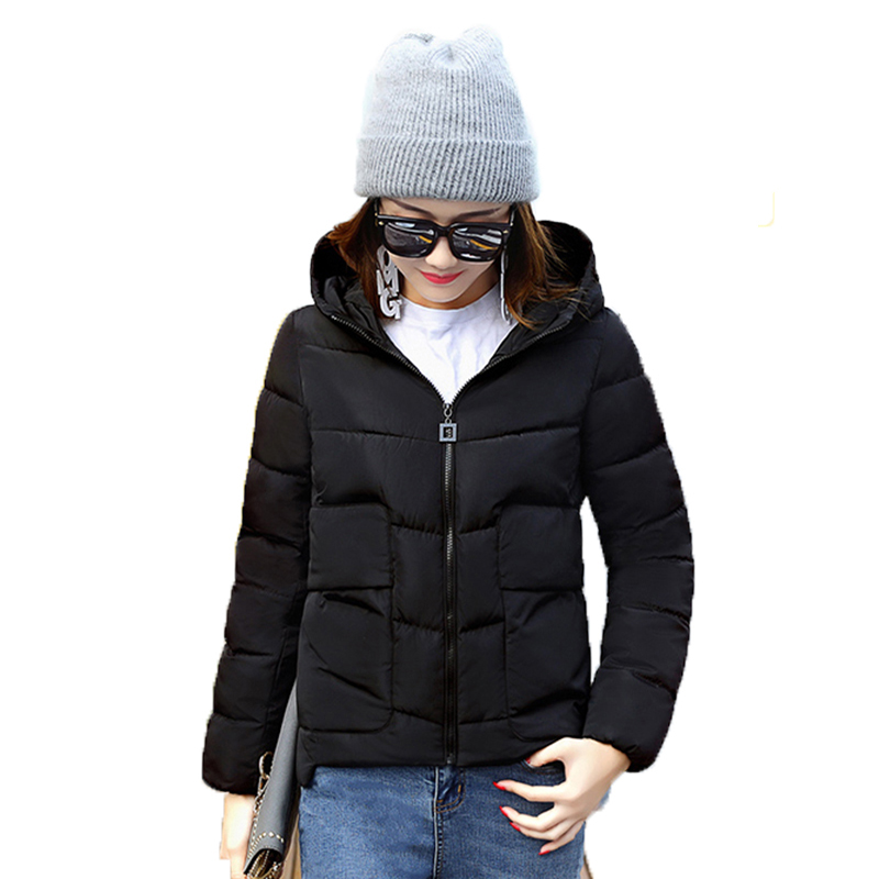 Snow Wear Wadded Female 2017 Autumn And Winter Jacket Women Slim Short Cotton-padded Parkas Hooded Outerwear Solid Coats YP0431Îäåæäà è àêñåññóàðû<br><br>
