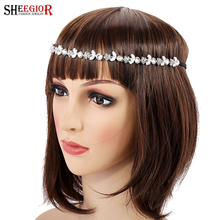 Crystal bridal hair accessories for women wedding flower head chain rhinestone hair jewelry bijoux cheveux femme hairband