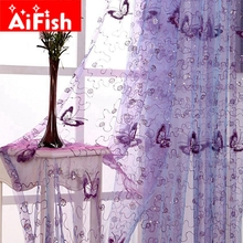 Elegant Beautiful Butterfly Sequin Embroidered Gauze Screens French Romantic Classic All-match Curatin For Living Room AP344-20(China)