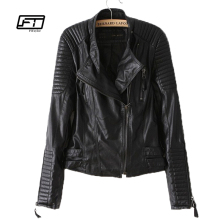 new autumn winter women PU leather jacket fashion Motorcycle coat female rivet long sleeve short design stand collar basic coat