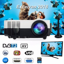 Excelvan LED2018 Portable Home Projector 640*480 1200Lumens LCD LED Proyector With HDMI/USB/AV input/VGA/TV/DVB-T2/SD card Input