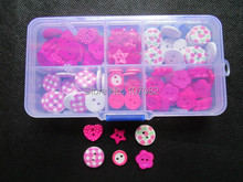 140pcs Fuchsia with Storage Wood Heart Buttons Plastic Flower Buttons 2 Holes Sewing Display for Baby Shower Scrapbook(China)